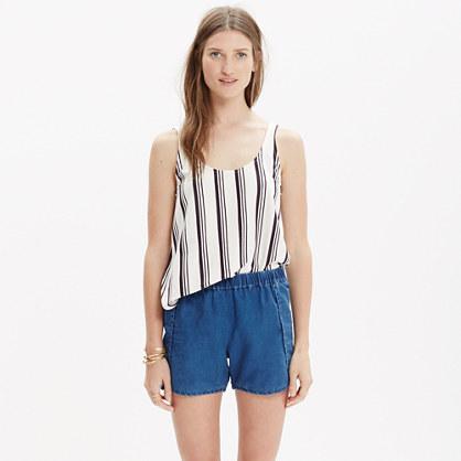 Indigo Linen Pull-On Shorts
