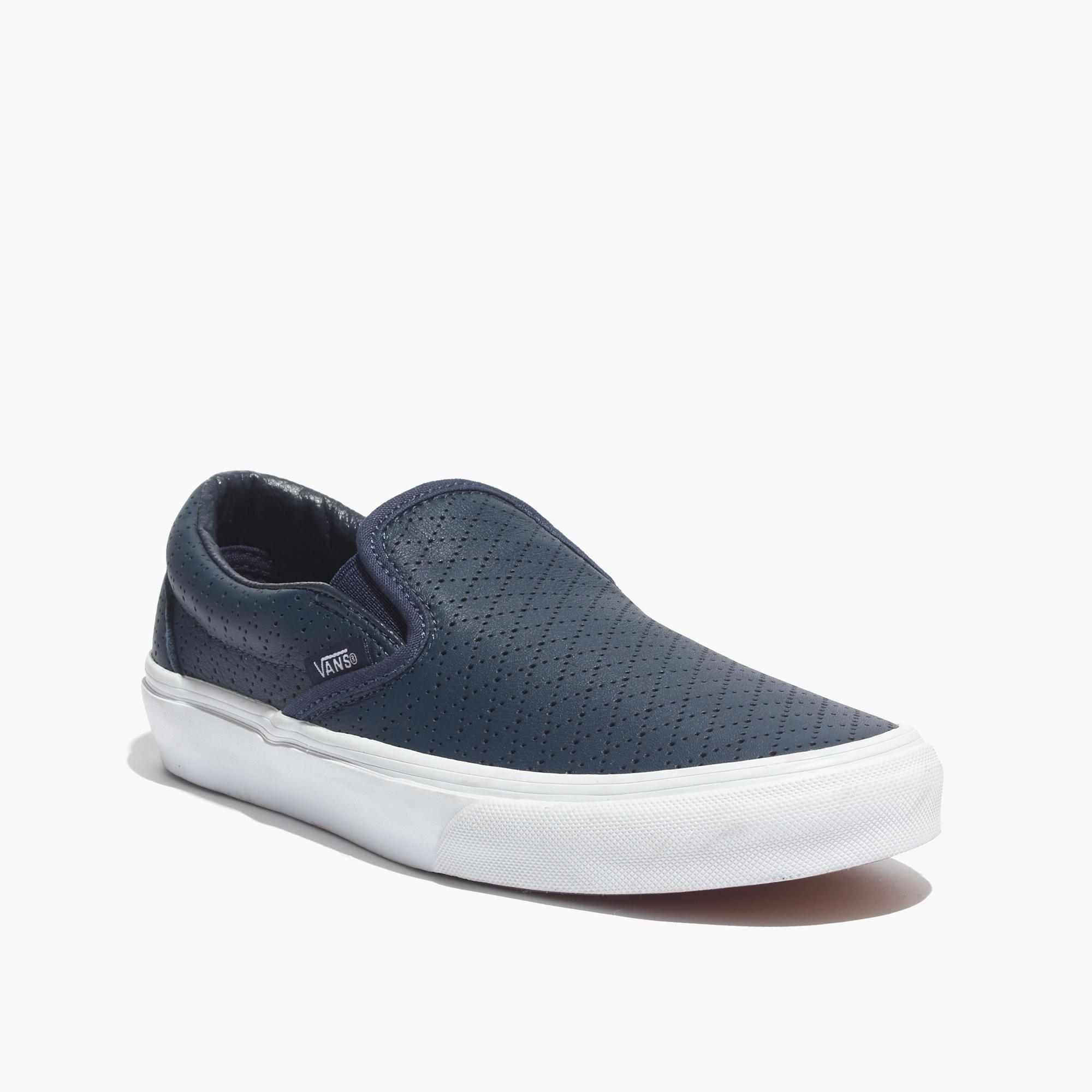 Vans Classic SlipOn Sneakers in Diamond Perforated Leather sneakers Madewell