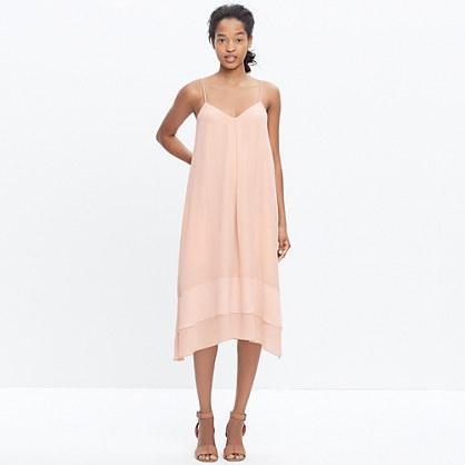 Silk Sheer-Stripe Cami Dress in Coral Sand