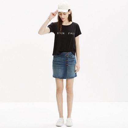 Denim Side-Button Mini Skirt : mini | Madewell