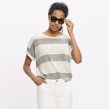Linen Bicoastal Tee in Rugby Stripe