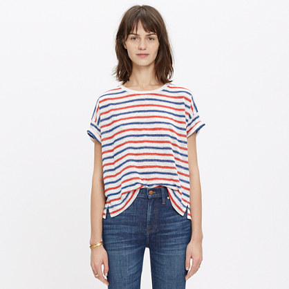 Linen Bicoastal Tee in Tricolored Stripe