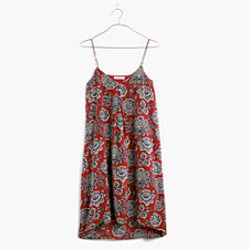 Silk Trapeze Cami Dress in Italian Floral - RUSTED RED