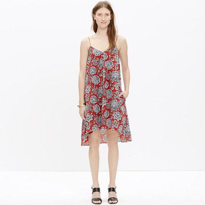 Silk Trapeze Cami Dress in Italian Floral