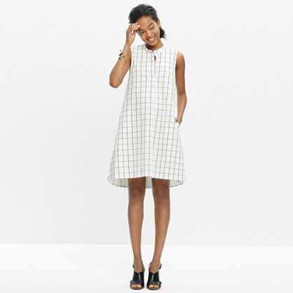 Sleeveless Shirtdress in Grid Print