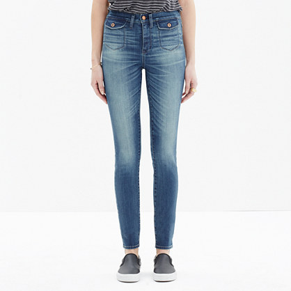 High Riser Skinny Skinny Crop Jeans: Patch-Pocket Edition