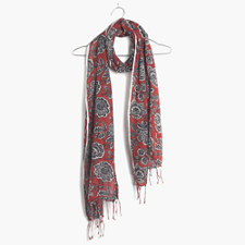 Italian Floral Scarf - RUSTED RED