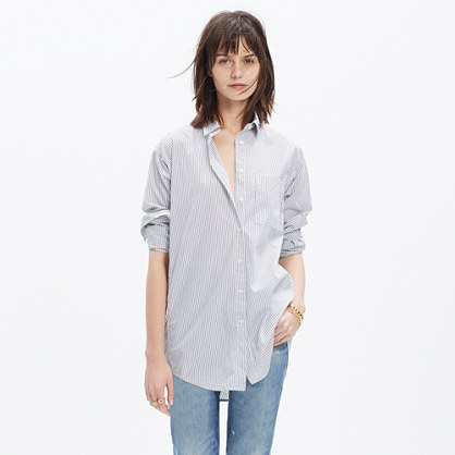 Oversized Button-Down Shirt in Stripe