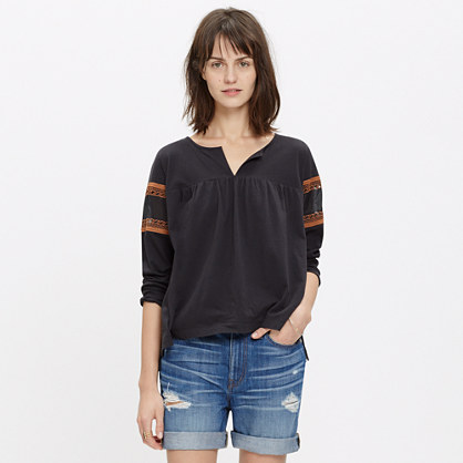 Lace-Inset Peasant Tee