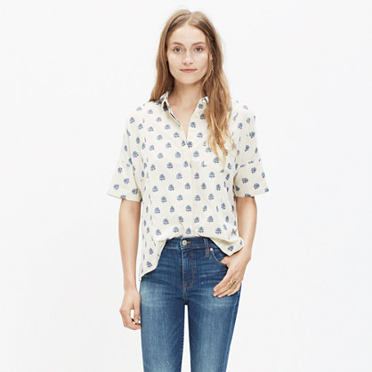 Academie Shirt in Floral Weave