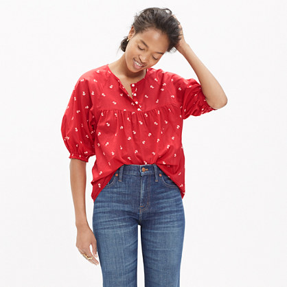Shirred Peasant Top in Bouquet Scatter