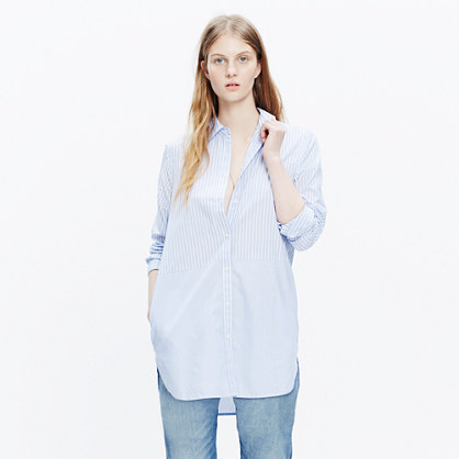 Button-Down Tunic Shirt with Pockets in Stripemix