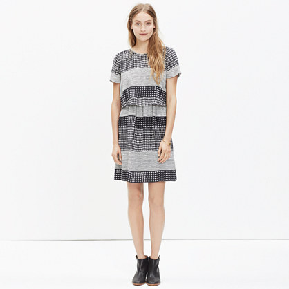 Silk Two-Piece Dress in Hashtag Stripe