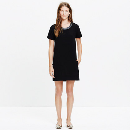 Leather-Trim Tailored Tee Dress