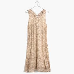 Silk Ruffle-Hem Tank Dress in Leaf Shade