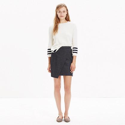 Asymmetrical Mini Skirt in Pinstripe