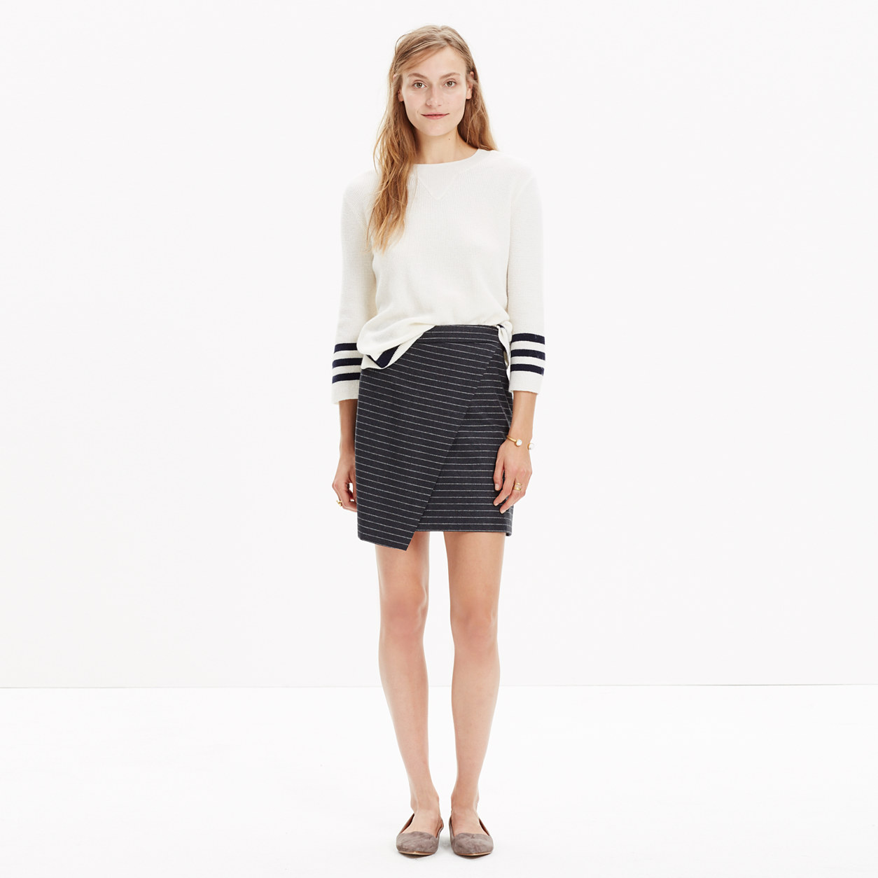 Asymmetrical Mini Skirt in Pinstripe : mini | Madewell