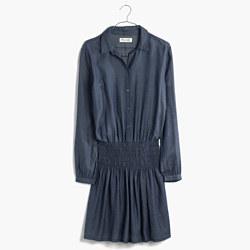 Shirred Indigo Dress