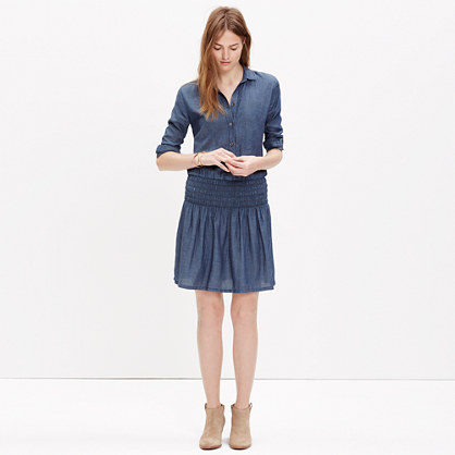 Shirred Indigo Dress