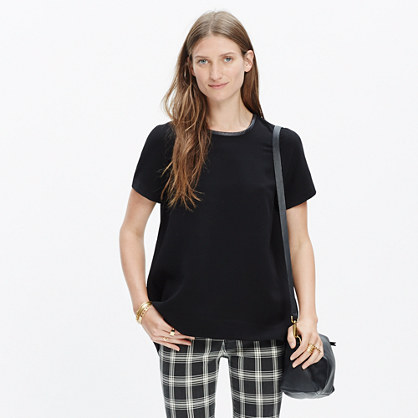 Leather-Trim Tailored Tee