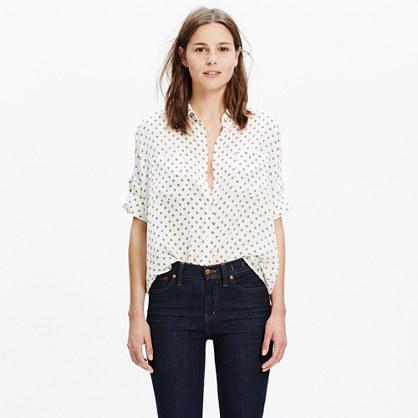 Silk Courier Shirt in Foulard Dot