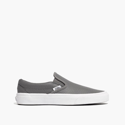 Vans® Classic Slip-On Sneakers in Grey Perforated Leather