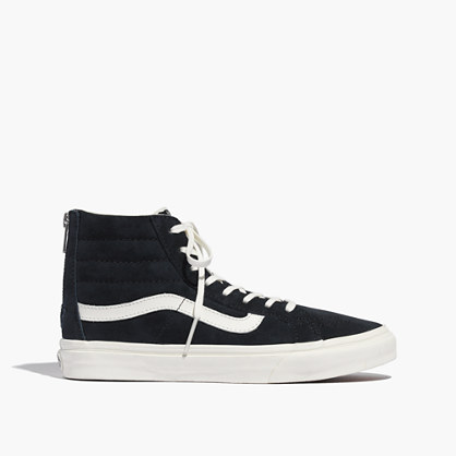 Vans® SK8-Hi Slim Zip High-Top Sneakers in Navy Suede