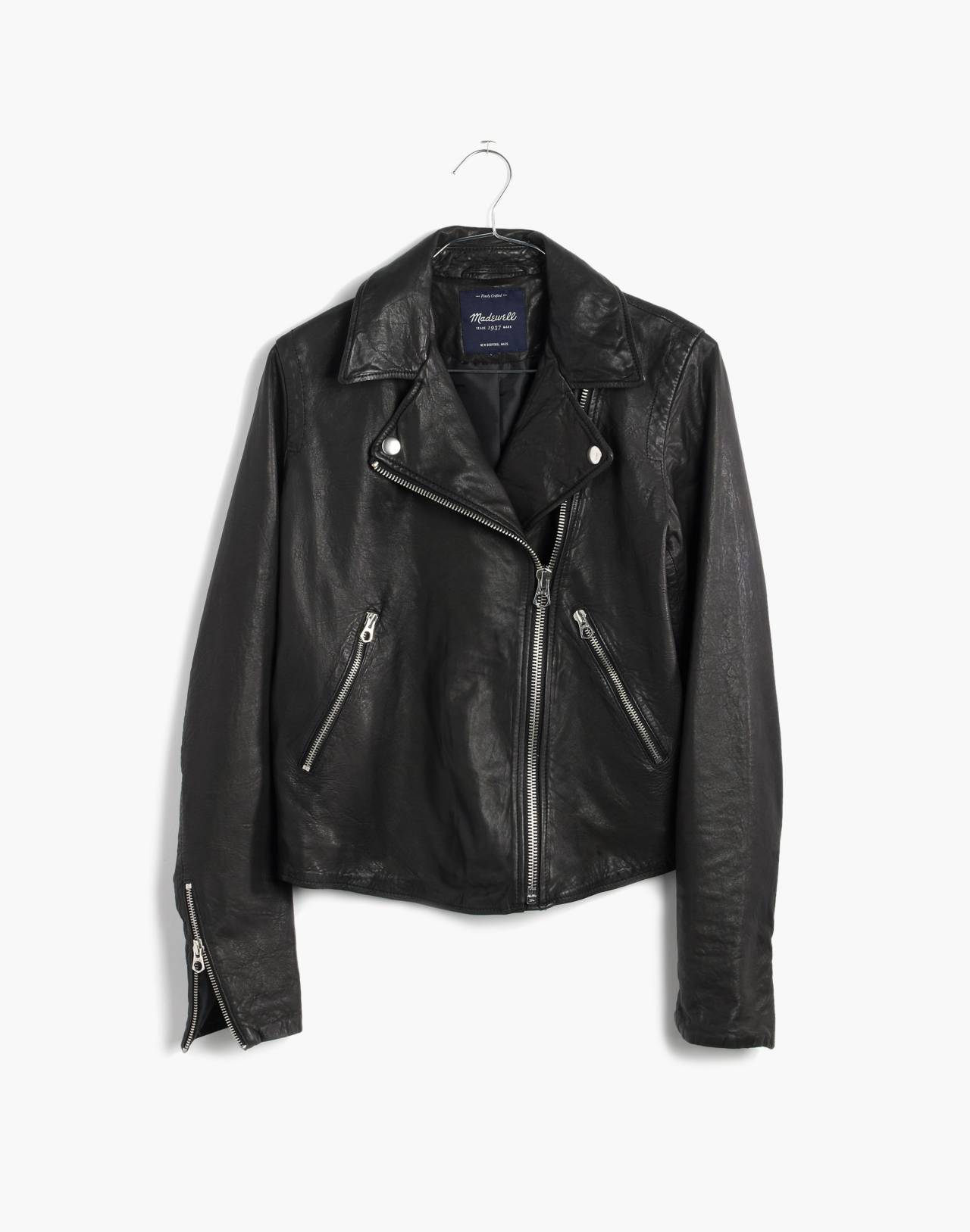 Washed Leather Motorcycle Jacket in true black image 4