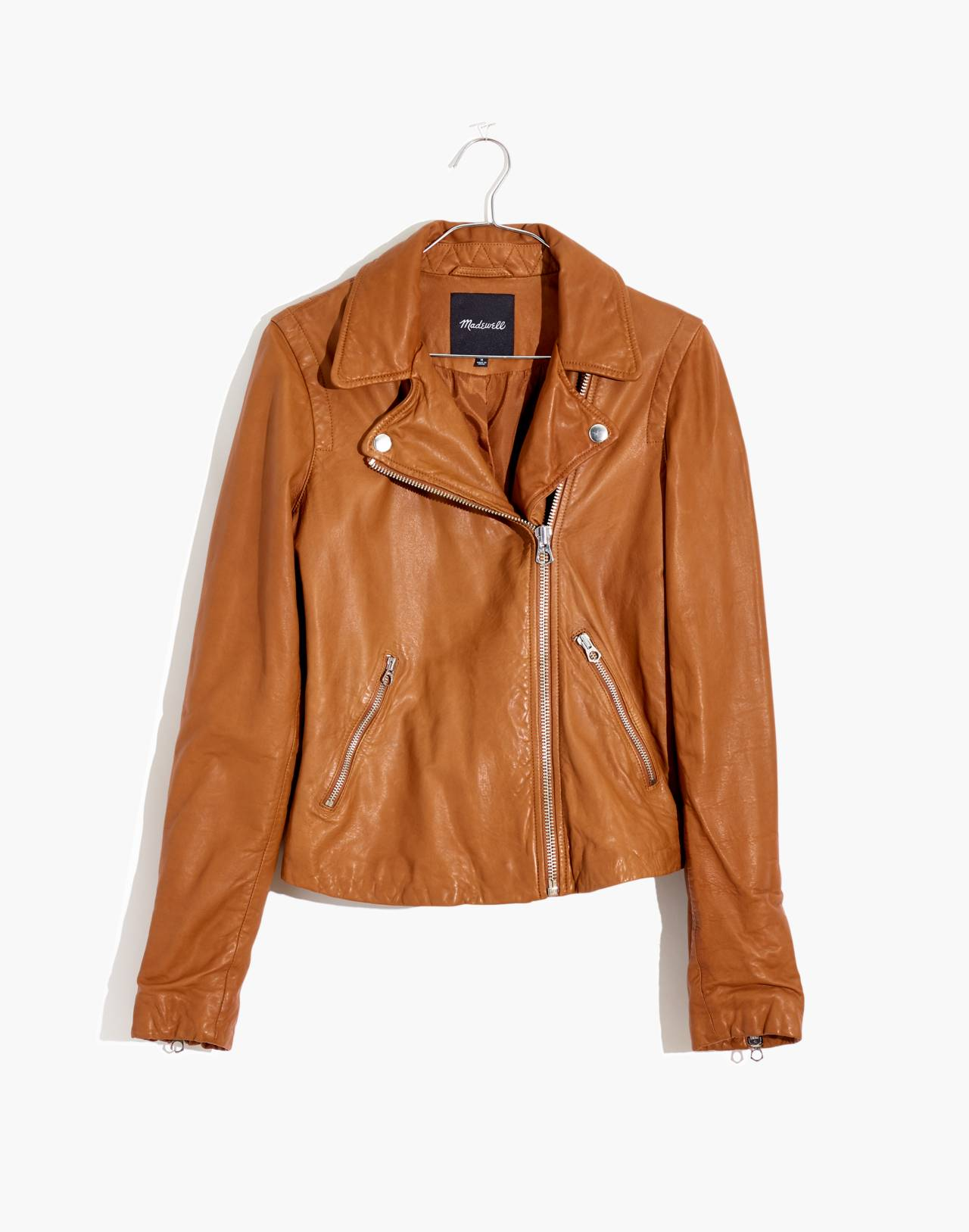 Washed Leather Motorcycle Jacket in burnt sienna image 1