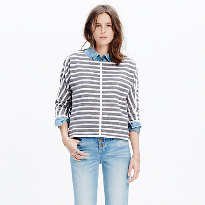 Striped Back-Zip Pullover