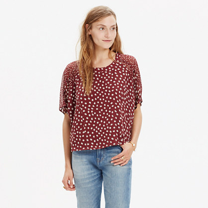 Silk Prose Top in Paintbrush Dot