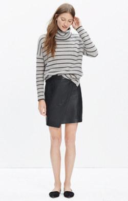 Leather Asymmetrical Mini Skirt