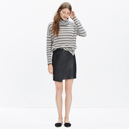 Leather Asymmetrical Mini Skirt