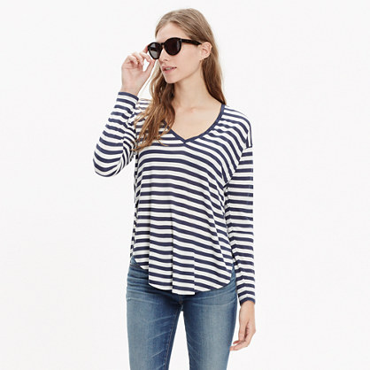 Anthem Long-Sleeve V-Neck Tee in Stripe
