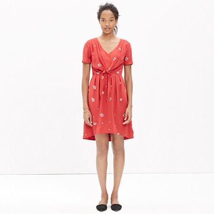 Silk Tie-Front Dress in Floral Fling
