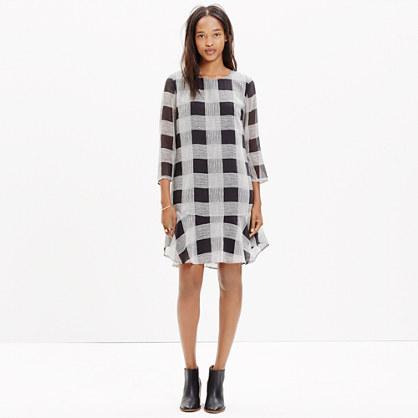 Silk Ruffle-Hem Dress in Inkcheck
