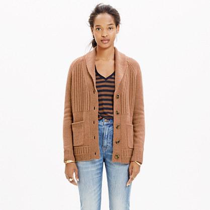 Shawl-Collar Rib Cardigan Sweater