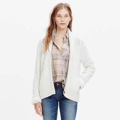Fringe-Sleeve Zip Cardigan Sweater