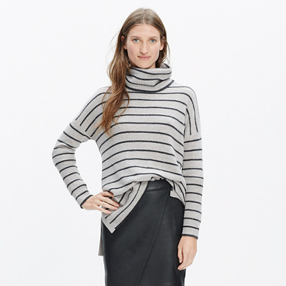 Ribbed Turtleneck Sweater in Stripe : turtlenecks | Madewell