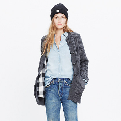 Plaid-Lined Sweater-Coat : cardigans | Madewell