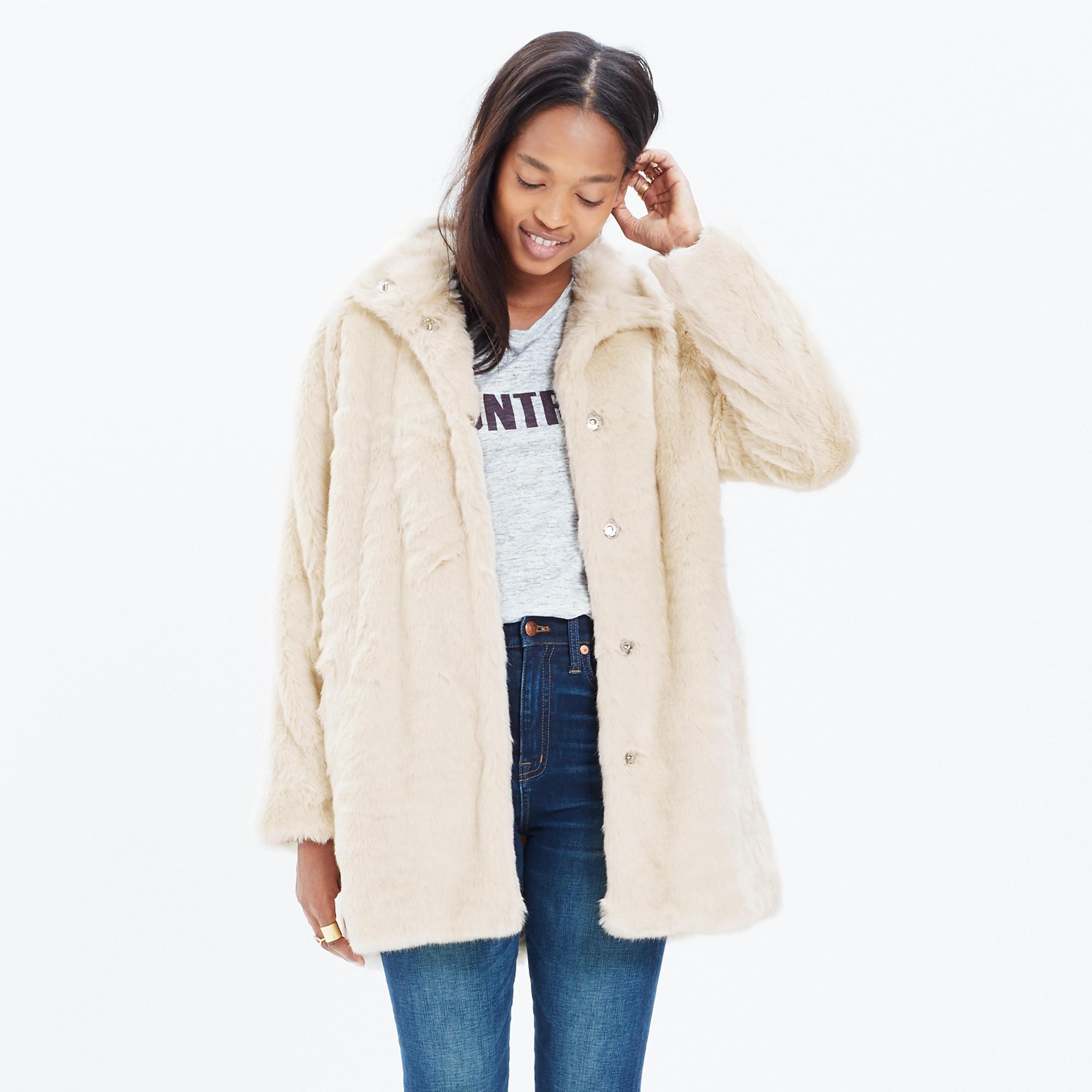 Stagedoor Faux-Fur Coat : coats | Madewell