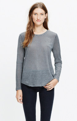 Whisper Cotton Long-Sleeve Crewneck Tee in Fluent Stripe