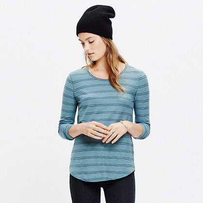 Whisper Cotton Long-Sleeve Crewneck Tee in Denmark Stripe