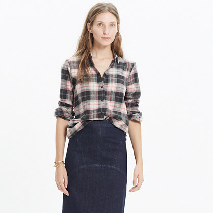 Rivet & Thread Flannel Slim Tunic Shirt in Mallory Plaid