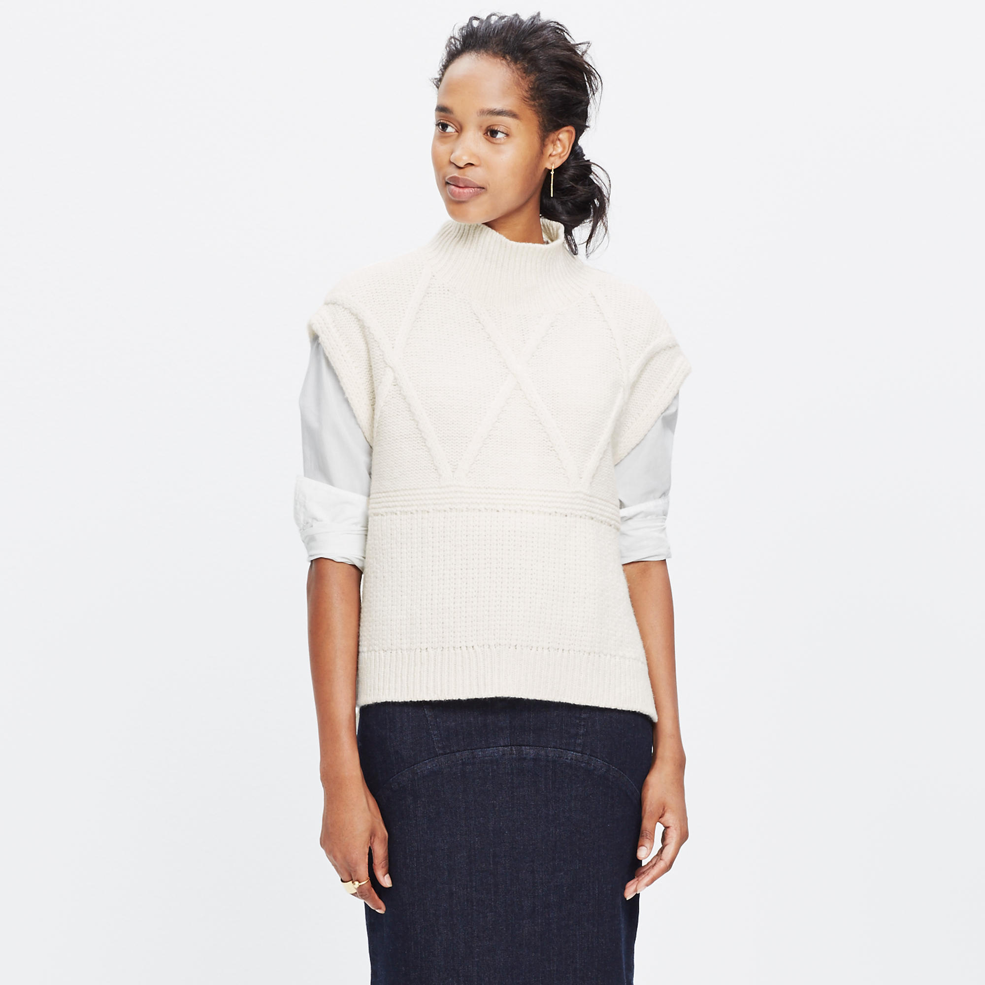 Cableknit Side-Tie Sweater-Vest : turtlenecks | Madewell
