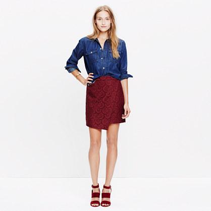 Lace Asymmetrical Mini Skirt