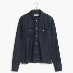 Drop-Hem Denim Shirt in Dark Indigo
