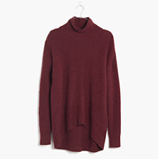 Wafflestitch Turtleneck Sweater - DARK CABERNET