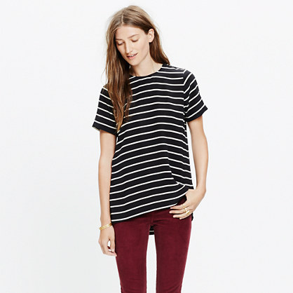 Silk Tailored Tee in Stripe