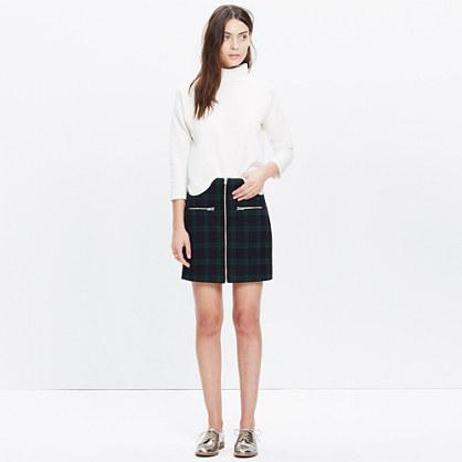 Zip Skirt in Dark Plaid